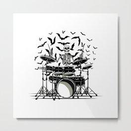 Skeleton Drummer Metal Print