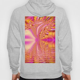 Golden Pink Fiesta, Abstract Fractal Ocean Ripples Hoody