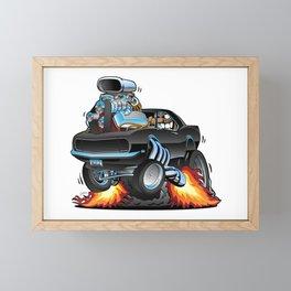 Classic Sixties American Muscle Car Popping a Wheelie Cartoon Illustration Framed Mini Art Print