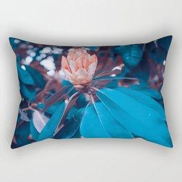 Magical Alien Planet Flora Fauna Neon Turquoise And Pink Rectangular Pillow