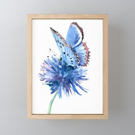 Blue Butterfly and Blue Flower, marine blue minimalist floral butterfly design Framed Mini Art Print