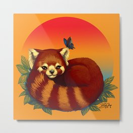 Red Panda Has Blue Butterfly Friend Metal Print
