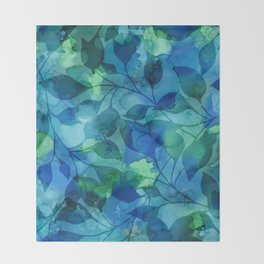 Alcohol Ink Leaves Throw Blanket