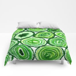 Green agate pattern watercolor Comforters
