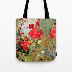Red Geraniums in Spring Garden Landscape Painting Tote Bag