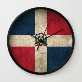 Old and Worn Distressed Vintage Flag of Dominican Republic Wall Clock
