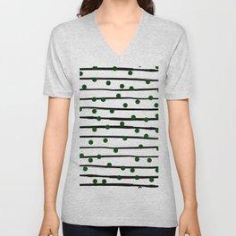 Modern black forest green polka dots stripes Unisex V-Neck