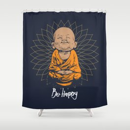 Be Happy Little Buddha Shower Curtain