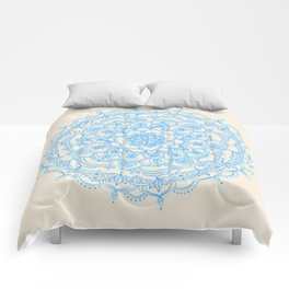 Pale Blue Pencil Pattern - hand drawn lace mandala Comforters