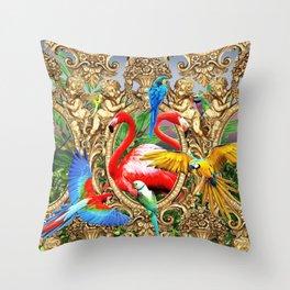 Bird Brain Rococo Throw Pillow