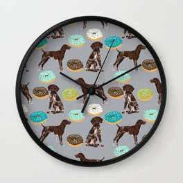 German Shorthair Pointer donuts dog art custom pet portraits of dog breeds by pet friendly Wall Clock