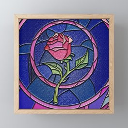 Beauty and the Beast Enchanted Rose Stained Glass Framed Mini Art Print