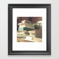 Pile of books  (Retro and Vintage Still Life Photography) Framed Art Print