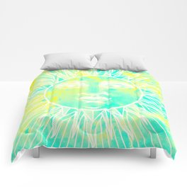 Sun vintage turquoise Comforters