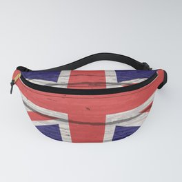 Union Jack UK Flag On Old Timber Fanny Pack