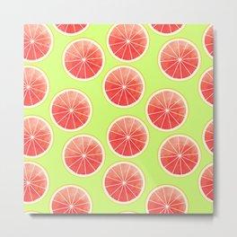Pink Grapefruit Slices Pattern Metal Print