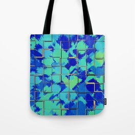 Abstract Squares Blue & Green Tote Bag