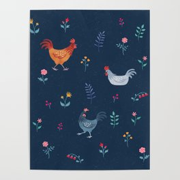 Little Hens (blue) Poster