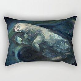 Polar Bear Swimming in Northern Lights Rectangular Pillow