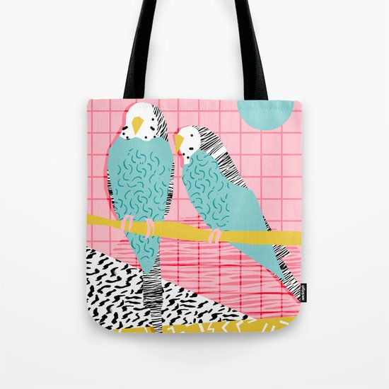 Hottie - throwback retro 1980s 80s style memphis dots bird art neon cool hipster college dorm art Tote Bag