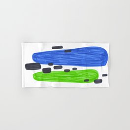 Lime Green Blue Mid Century Modern Abstract Minimalist Art Colorful Shapes Vintage Retro Style Hand & Bath Towel