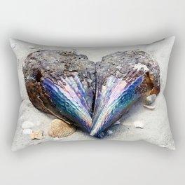 Heart Shell on Sand Rectangular Pillow