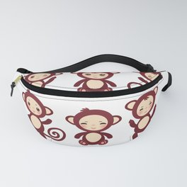 Set of funny brown monkey boys and girls on white background. Vector illustration Fanny Pack