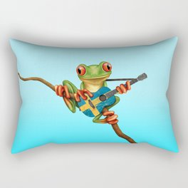 Tree Frog Playing Acoustic Guitar with Flag of Sweden Rectangular Pillow