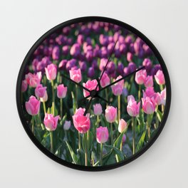 Purple and Pink Tulips Wall Clock
