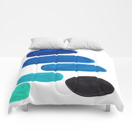 Colorful Mid Century Modern Pop Art Minimalist Style Teal Blue Aquamarine Bubbles White Background Comforters