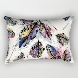 Be wild. Boho watercolor feathers. Fashion Rectangular Pillow