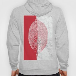 Natural Outlines - Leaf Red & White Marble #930 Hoody