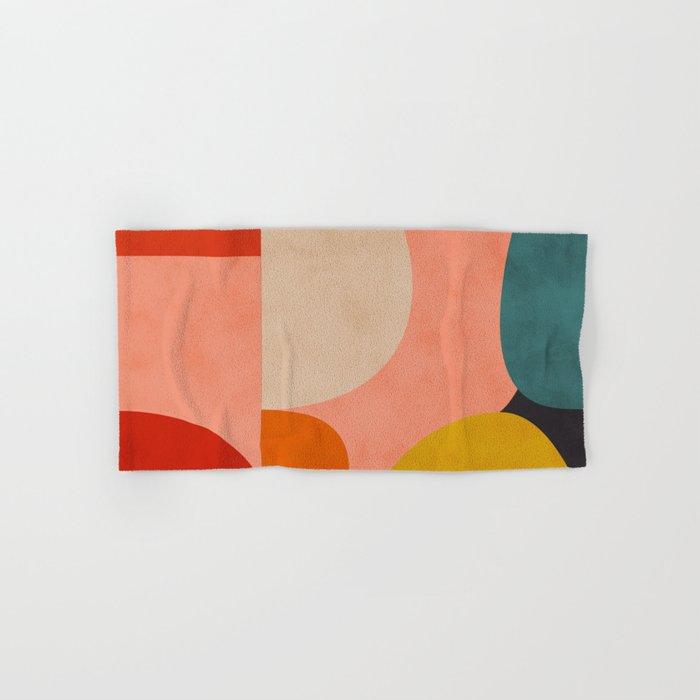 geometry shape mid century organic blush curry teal Hand & Bath Towel