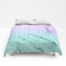 Unicorn Mermaid Girls Glitter Marble #1 #decor #art #society6 Comforters