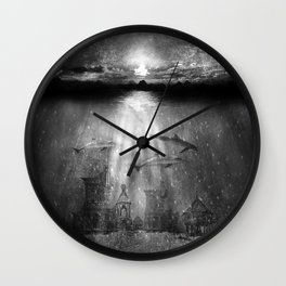 dolphins, civilization. Wall Clock