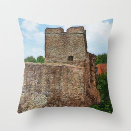 Castle Ruins in Levice Throw Pillow