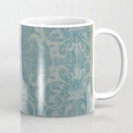 Antique rustic teal damask fabric Coffee Mug