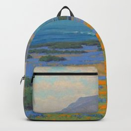 Spring Morning, Poppy and Lupine Flowers, California Coast by John Marshall Gamble Backpack