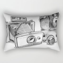 Old Cameras Black and White Painting Rectangular Pillow
