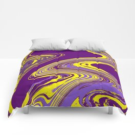 Purple and Yellow Fluid Painting Comforters
