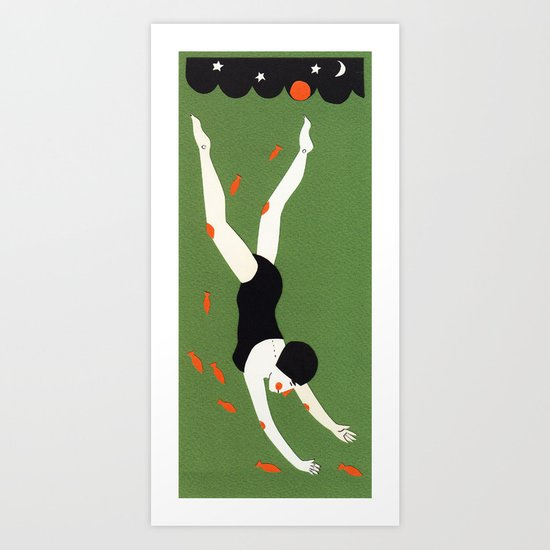 Night swimming Art Print