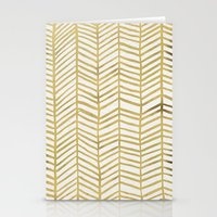 paint Stationery Cards featuring Gold Herringbone by Cat Coquillette