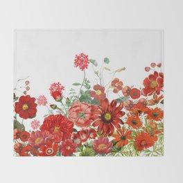 Vintage & Shabby Chic - Red Summer Flower Garden Throw Blanket