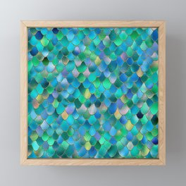 Summer Ocean Metal Mermaid Scales Framed Mini Art Print