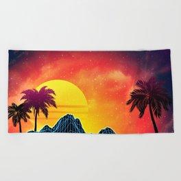 Sunset Vaporwave landscape with rocks and palms Beach Towel