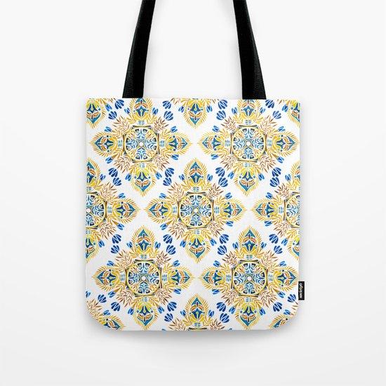 Wheat field with cornflower - mandala pattern Tote Bag