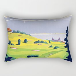 Swiss vintage travel poster Golf Lausanne Switzerland Rectangular Pillow