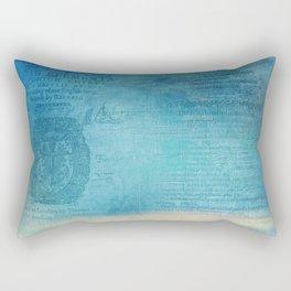 Decorative Blue Writing Texture Vintage Rectangular Pillow