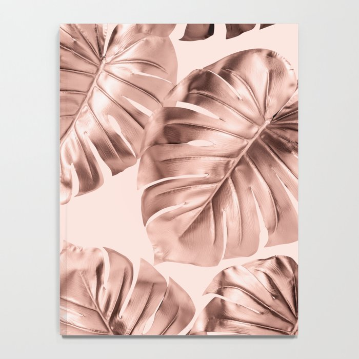 Rose Gold Monstera Leaves on Blush Pink 2 Notebook