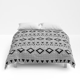 Bohemian Mudcloth Style 2 in Gray and Black Comforters